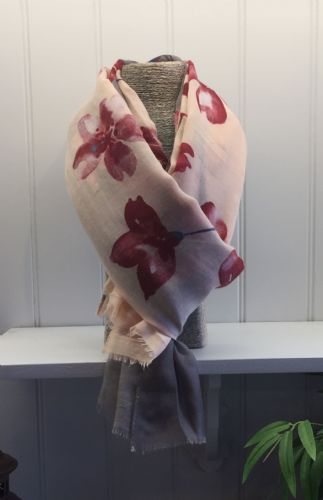 Flowers Print Scarf - Grey and Pale Pink with Burgundy & White Flowers